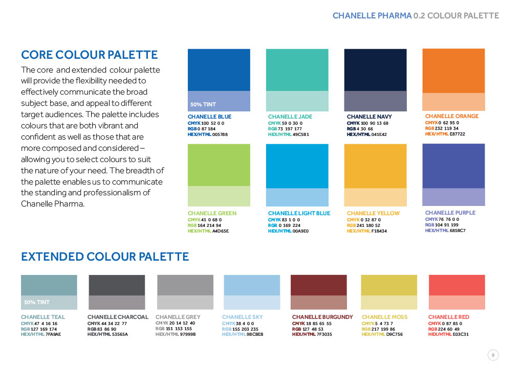 Chanelle Pharma identity guide page 10